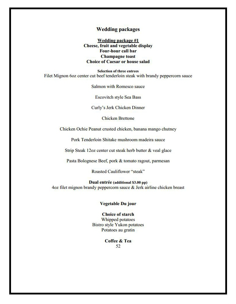 banquet wedding menu